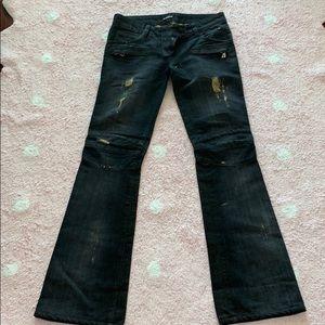 BALMAIN biker gold black jeans PeRFEcT condition